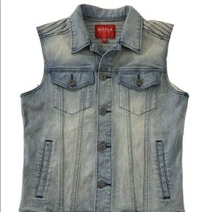 Guess Sleeveless Trucker Denim Jean Jacket Vest S